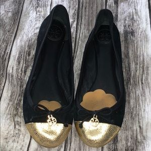 Tory Burch Gold Tipped black suede flats